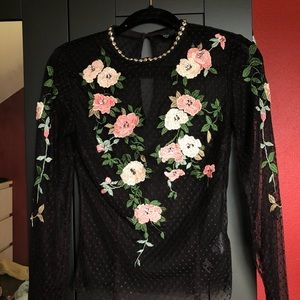 Topshop Embroidered Sheer Top